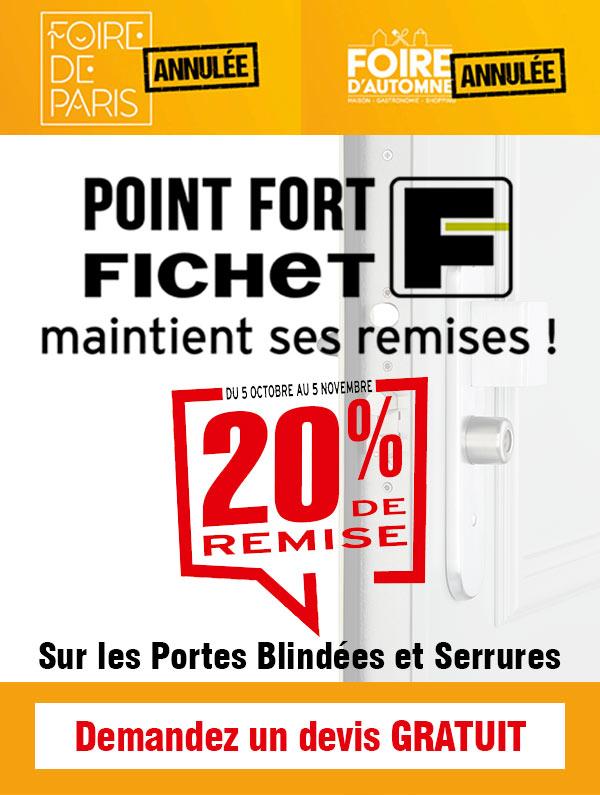 20 % de remise sur les portes blindées et serrures Fichet à Paris